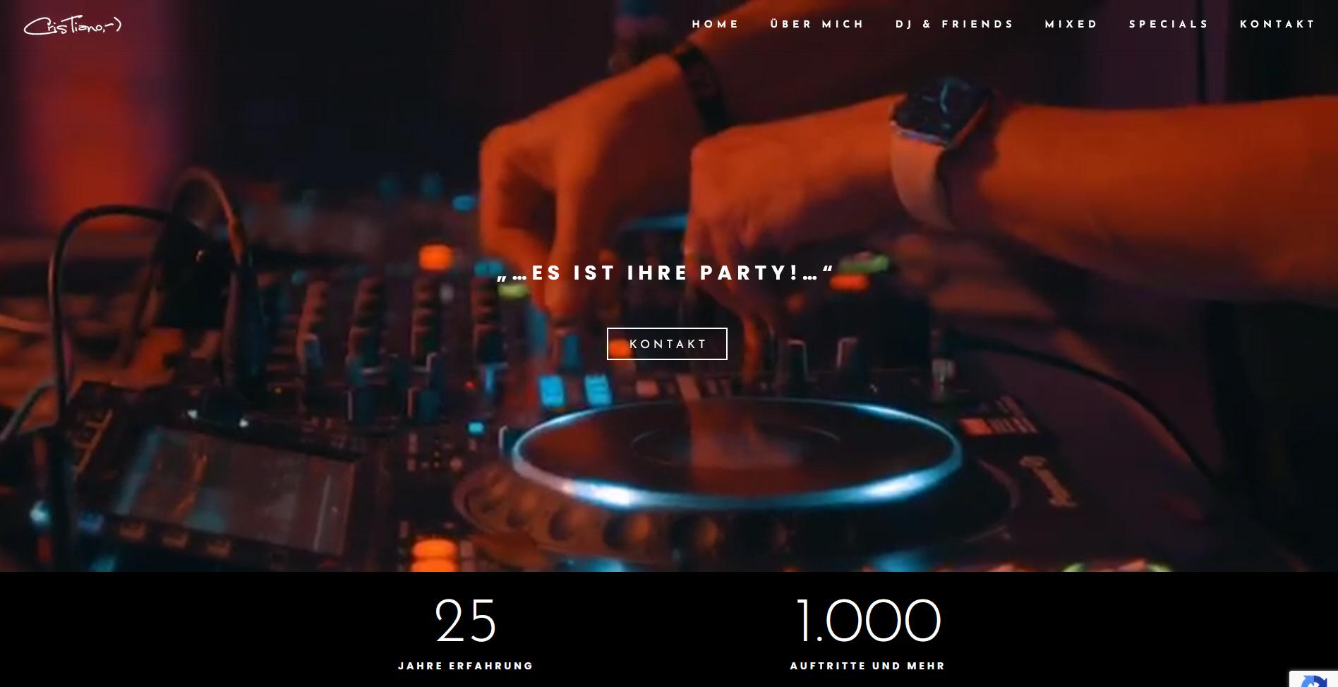 Webseite für DJ Cristiano