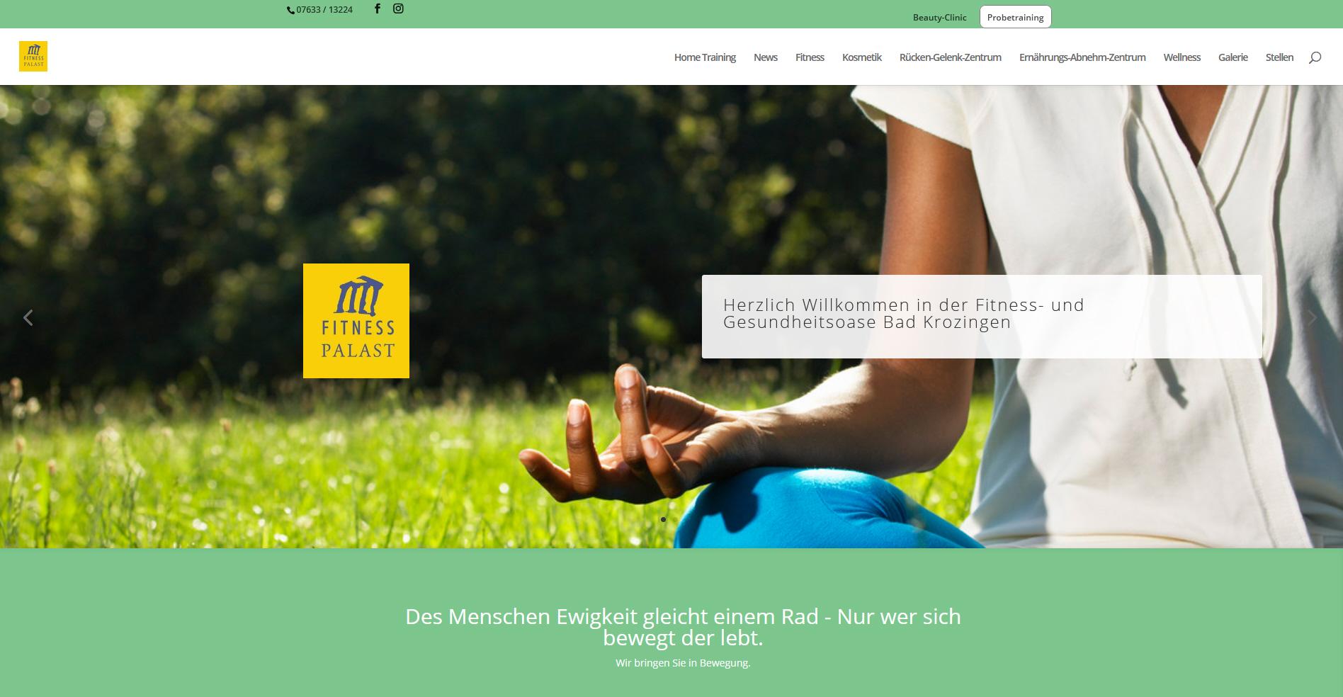 Webseite für den Fitness Palast in Bad Krozingen