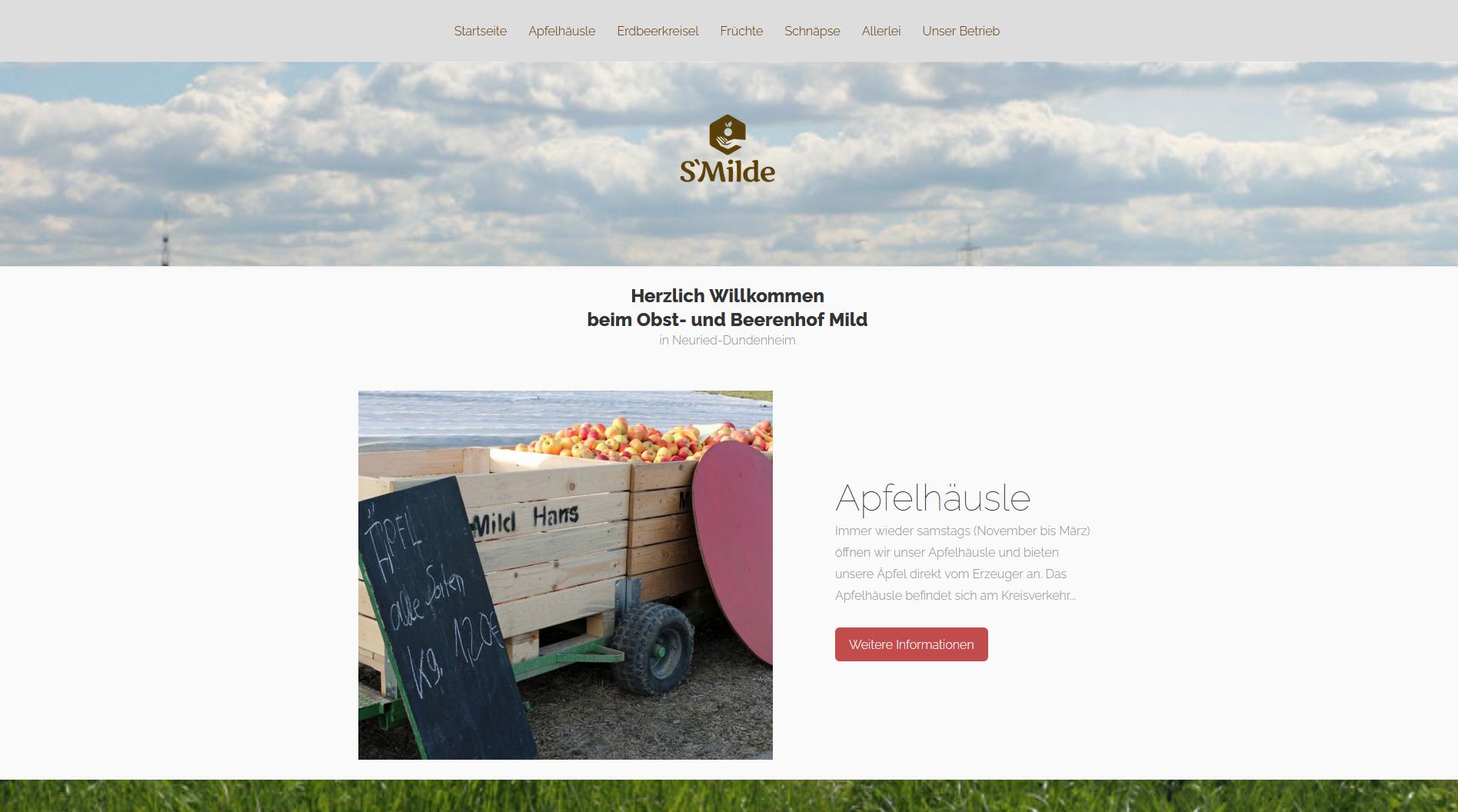 Webseite für den Obsthof Mild in Dundenheim