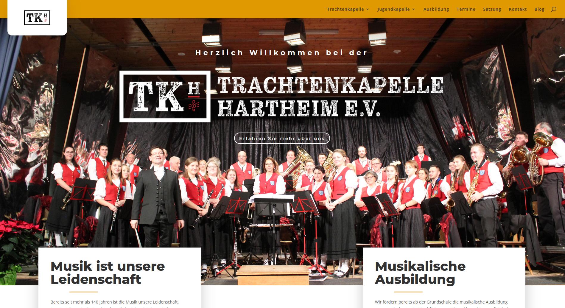 Webseite für die Trachtenkapelle Hartheim e.V.
