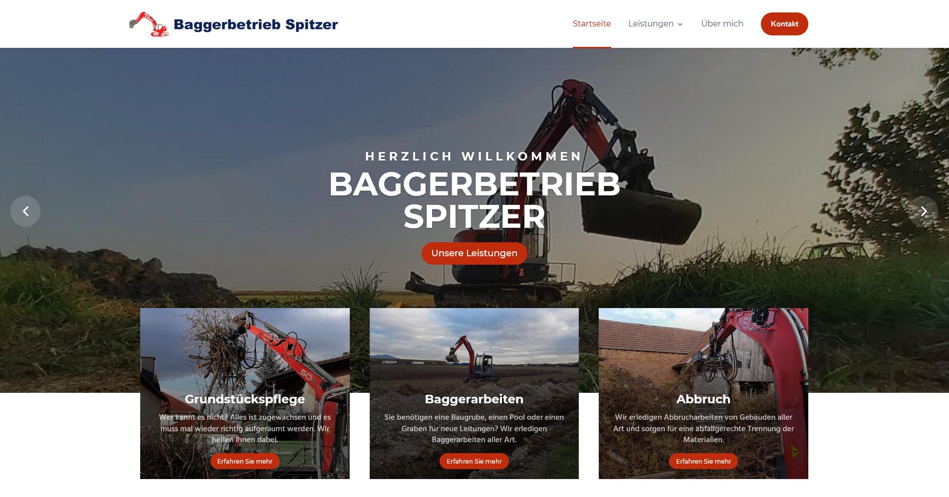 Webseite für den Baggerbetrieb Spitzer aus Hartheim